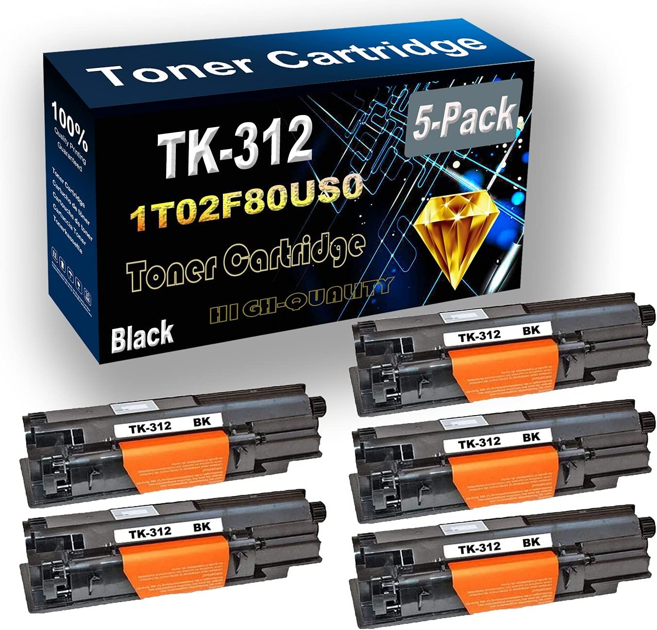 5-Pack (Black) Compatible High Yield TK312 TK-312 | 1T02F80US0 Laser Printer Toner Cartridge use for Kyocera FS-2000 FS-2000D FS-2000DN Printer