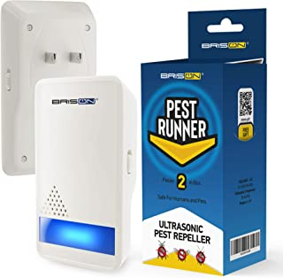 BRISON Ultrasonic Pest Repeller - Eco-Friendly Electronic Waves Pest Control Portable Indoor/Outdoor Plug in Repellent for Mosquitoes Mice Rats Cockroaches Spiders Ants Rodents 2 Pack