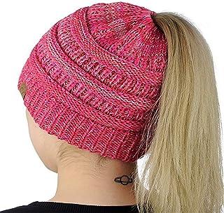 Woolen Beanie Hat Soft Tail Winter Ponytail Hat For Autumn Winter Outdoor Hats & Caps (Color : Light blue)