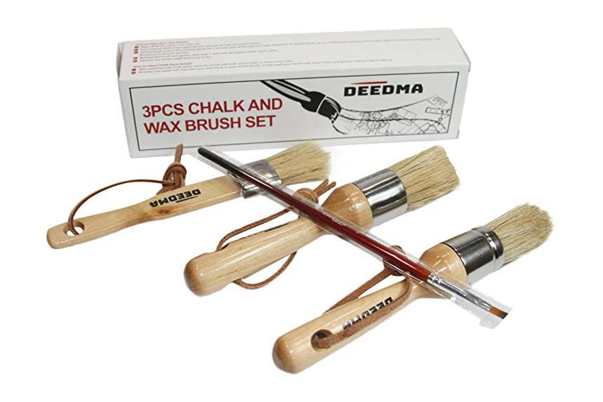 Deedma Chalk Paint Wax Brush Set -Smooth, Effortless and Detailed Painting Brush Set – Comfy All-Natural Boar Bristle Brushes – No Streak 3 Piece Brush Set with Bonuses Included; Introduction Price!