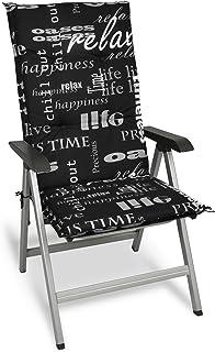 Beautissu Cojín para sillas de Exterior y jardín con Respaldo Alto Relax 120x50x6 cm tumbonas, mecedoras, Asientos cómodo Acolchado Resistente a Rayos UV