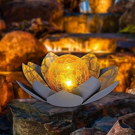 HUAXU Solar Lights Outdoor , Garden Decor , Amber Crackle Globe Glass Lotus Decoration,Waterproof Gray Metal Flower Light for Patio,Lawn,Walkway,Tabletop,Ground