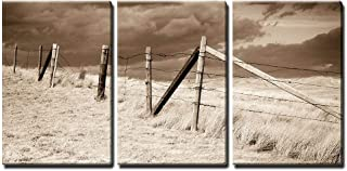 wall26 - 3 Piece Canvas Wall Art - Dramatic Sky on Rural Grasslands, Colorado, United States, Sepia Version - Modern Home Decor Stretched and Framed Ready to Hang - 24
