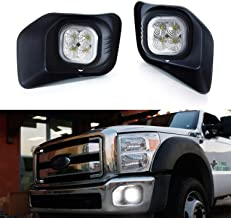 iJDMTOY LED Fog/Driving Light Kit For 2011-2016 Ford F250 F350 F450 Super Duty, Includes (2) 40W High Power LED Fog Lamps, Foglight Bezels & Relay Wiring On/Off Switch