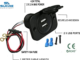 Facon USB-Ladebuchse Power Einbauhalterung mit gr/üner Kontrollleuchte Steckdose 5V 2.4A f/ür Wohnmobilanh/änger Camper Boat Marine Motorhome
