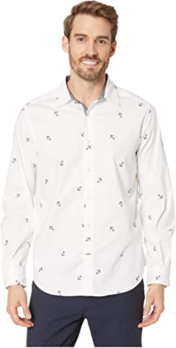 Long Sleeve Mini Anchor Print Shirt