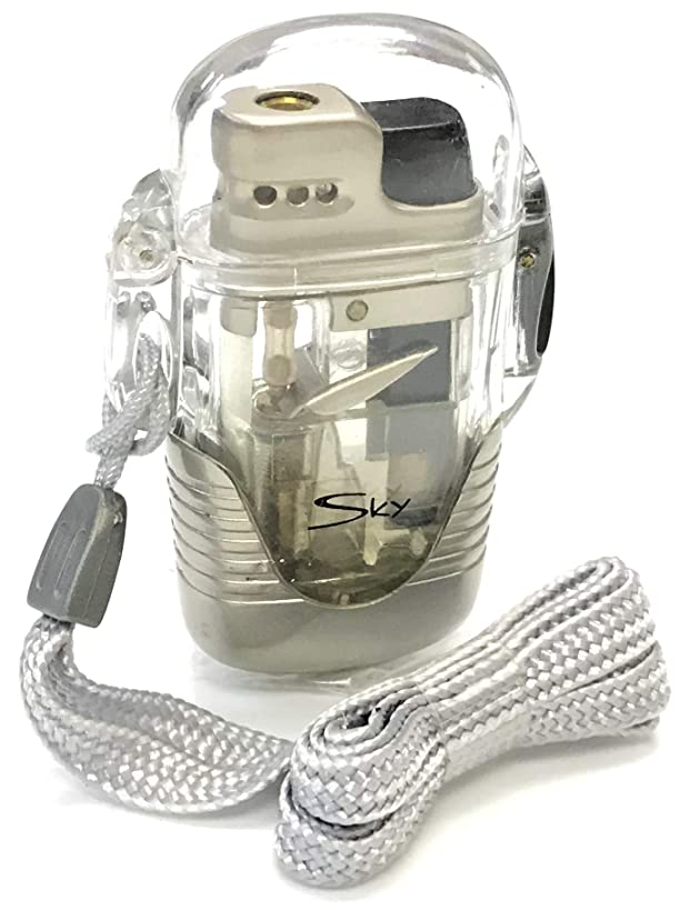 Eclipse Collectible Novelty Clear Refillable Windproof Torch Lighter, with Locking Cap & Lanyard, 1438