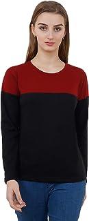Reifica Women's 100% Cotton Bio-Washed Full Sleeves Tshirt (Maroon/Black)