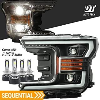 AlphaRex Projector LED High/Low Beams Headlights Headlamps Assembly Switchback DRL+Turn Signal For 2018-2019 F-150 F150 (Black projector with LED light bulbs with Sequential Amber Turn Signal)