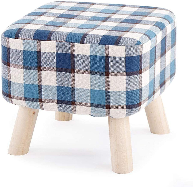 QTQZ Brisk- Stool Solid Wood Fashion Square Stool Cloth Sofa Stool Home Coffee Table Stool High Leg Stool Bench (color  7)