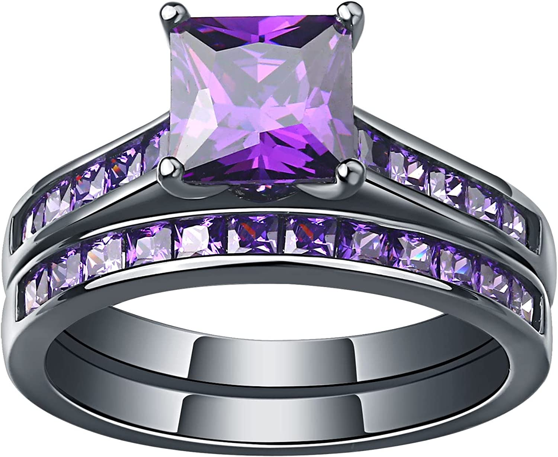 Max 40% OFF SHELOVES Women Black Gold Plated Amethyst P Rings Sacramento Mall Purple Wedding