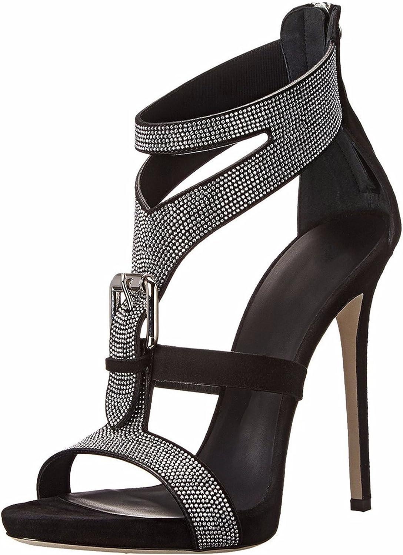 Kaitzen Women's High Heels Crystal Sandals Peep Toe Zipper Platform Stiletto Court shoes Fashion Metal Button Pump Spring Summer Evening Party