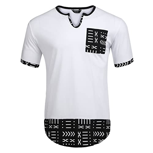 e88ee6555 COOFANDY Men's Hipster Hip Hop V Neck T Shirts Short Sleeve Aztec Graphic  Print Longline T