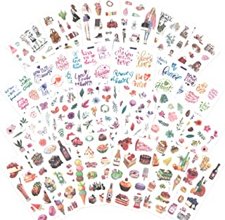 1000Art Planner Stickers Pack(24 Sheets/370+) Motivational Quotes,Floral,Dessert,Daily Life Stickers for Journals,Planners,Cards,Scrapbooks,DIY Arts and Crafts