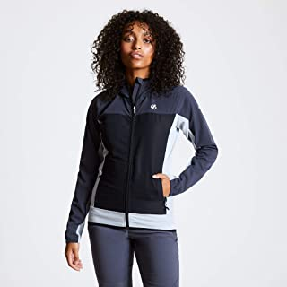 Dare2b Women's DWL425 7CA18L Duplicity' Water Repellent Zipped Pockets Soft Shell Jacket, Ebony Grey/Black, 18