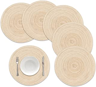 famibay Round Placemats, Round Braided Place Mats for Dining Table Heat Insulation Table Mats for Kitchen 15 inches(Beige,Set of 6)
