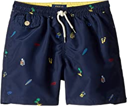Traveler Print Swim Trunks (Little Kids)
