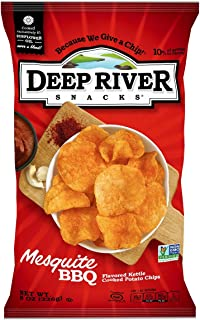 Deep River Snacks Mesquite BBQ Kettle Cooked Potato Chips, 8-Ounce (Pack of 12)