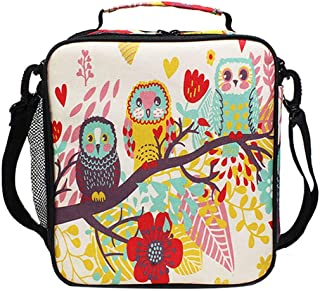 Kids Lunch Box Cute Owl Insulated Lunch Bag Large Freezable Lunch Boxes Cooler Meal Prep Lunch Tote with Shoulder Strap for Boys Girls …