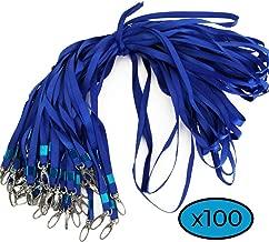 –Juego de braga de cuello con enganche con clip metálico–Cordón de cuello para puerta Badge Tarjeta de Identificación, color azul 100
