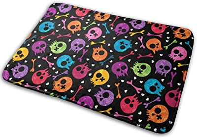 Colorful Skulls and Hearts Carpet Non-Slip Welcome Front Doormat Entryway Carpet Washable Outdoor Indoor Mat Room Rug 15.7 X 23.6 inch