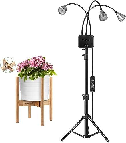 discount VIVOSUN Plant Stand Indoor Bamboo Adjustable Flower Pot outlet sale Holder, Tri-Head outlet sale 60W LED Grow Lights online