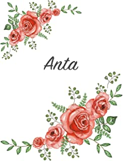 Anta: Personalized Notebook with Flowers and First Name - Floral Cover (Red Rose Blooms). College Ruled (Narrow Lined) Jou...