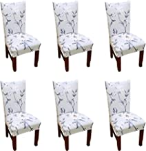 Argstar 2 Pack Chair Covers for Dining Room Spandex Slipcovers Pattern, Polyester & Polyester Blend, K_3, 6 pack