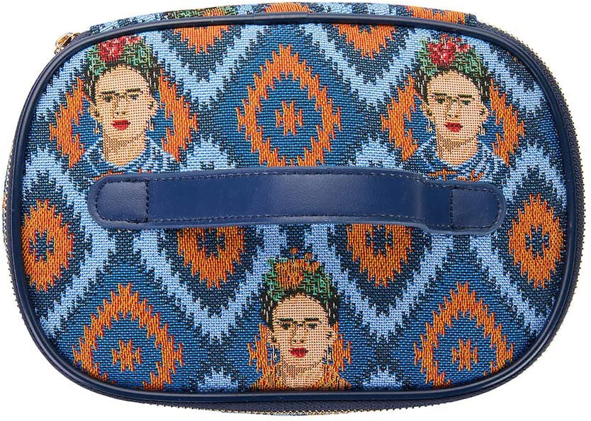 Signare Tapestry Toiletry Bag Makeup Vanity Bag for Women with Mexican Folk Art Design Frida Kahlo Icon; Toil-FKICON