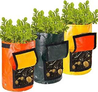 Auxsoul 3 Packs Potato Grow Bag Potato Planter Bags(10 Gallon), Garden Vegetable Planter with Handles, Access Flap and Dra...