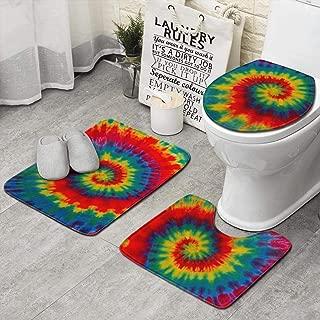 Unicorns Farting Tie Dye Rainbow Art Wallpaper Non-Slip Bathroom Rugs Soft Dry Quickly Toilet Carpet Set of 3