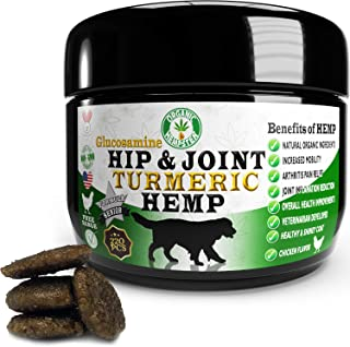 Organic Hemp Treats for Dogs, Hip & Joint with Glucosamine & Turmeric, Natural Calming Aid, Anxiety Relief, Grain-Free, Fr...