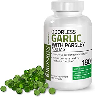 Bronson Odorless Garlic with Parsley Capsules 500 mg - Supports Cardiovascular Health - Promotes Immune Function, Non-GMO,...