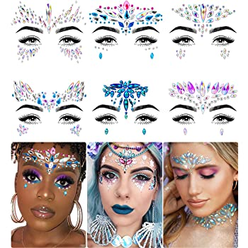 Face Jewels - Face Gems by iMethod, Mermaid Face Jewels Stick On, Rave Accessories for Mardi Gras Costumes & Coachella Clothes, 6 Pcs