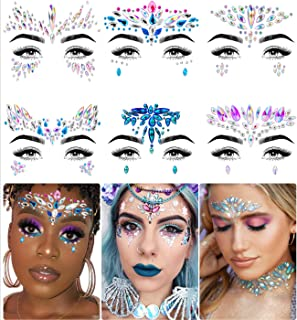 iMethod Face Jewels - Face Gems, Mermaid Face Jewels Stick On, Rave Accessories for Festival Holiday Costumes & Makeup, 6 Pcs