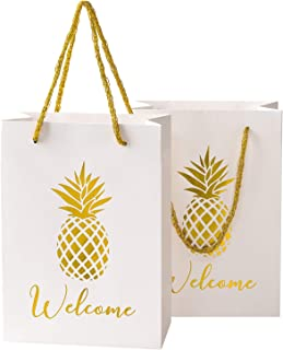 KEY SPRING Wedding Welcome Gift Bags, Gold Pineapple Party Favor Bag, Bridesmaid Gift Bags (Set of 12) for Wedding, Bridal Shower, Hotel Guests, Luaus, Bachelorette Party