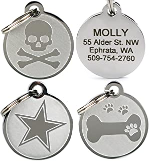 skull and crossbones dog id tag