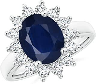 Princess Diana Inspired Blue Sapphire Ring with Diamond Halo (10x8mm Blue Sapphire)