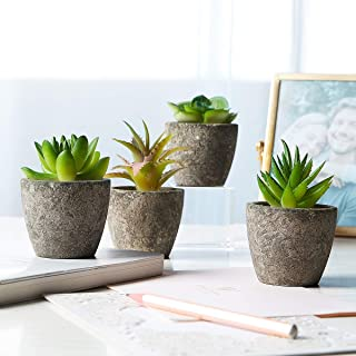 Succulent Faux Potted Plants – Set of 4 Artificial Decorative Flowers – Ultra-Realistic Design – Premium Quality Durable Plastic – Ideal for Office, Bedroom, Desk Shelves, Home – Easy Maintenance