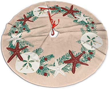 "MSGUIDE Coastal Rustic Beach Christmas Holiday Starfish Christmas Tree Skirt 48"" Tree Skirt for Holiday Christmas Decorations"