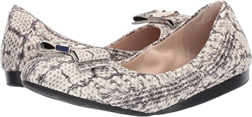 Natural Python Print/Leather/Black Demi Wedge