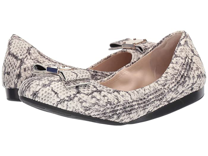 Cole Haan  G.Os Tali Bow Ballet (Natural Python Print/Leather/Black Demi Wedge) Womens Shoes