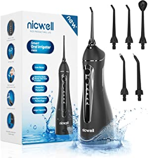 Water Flosser Cordless for Teeth - Nicwell 4 Modes Dental Oral Irrigator, Portable and Rechargeable IPX7 Waterproof Powerful Battery Life Water Pick Teeth Cleaner for Home Travel