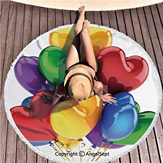Angel Blanket Super Water Absorbent Beach Throw,3D Style Realistic Party Balloons Heart Shaped Romantic Celebration Multicolor,59 inches Diameter,Thick Microfiber Round Beach Towel