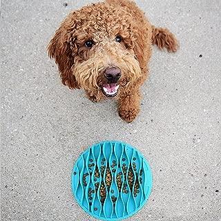 mwellewm Pet Fun Slow Feeder Mat Portable Dog Feeder Bowl,Cat Food Water Twin Set Feeding Bowl Traveling,Pet Chilled Frosty Cooling Bowl,Non-Slip Bottom,Food Grade Silicone Anti-Gulp Dog Bowl,Blue