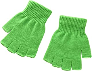 Boys' and Girls' Solid Knitted Half Finger Mittens Typing...