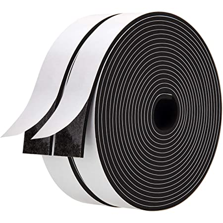 1 Inch Wide X 1//8 Inch Thick,Neoprene Weather Stripping High Density Foam Tape Seal for Doors and Windows Insulation,Total 33 Feet Long 16.5ft x 2 Rolls Foam Strips with Adhesive-2 Rolls