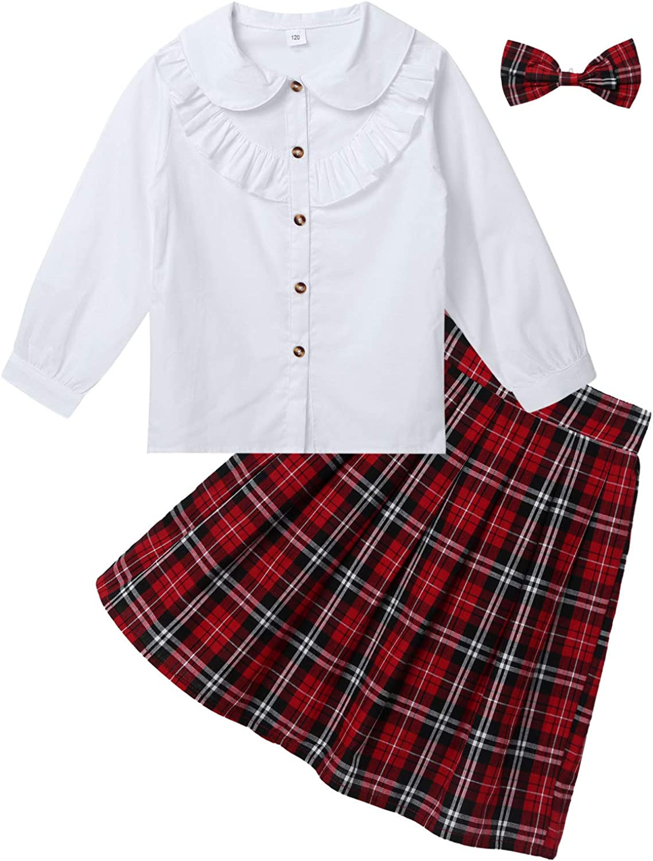 Chemise Noeud Papillon Manche Longue 3-10 Ans Yeahdor Costume Ecoli/ère Enfant Fille Uniforme Scolaire Tenue Ecole Jupe