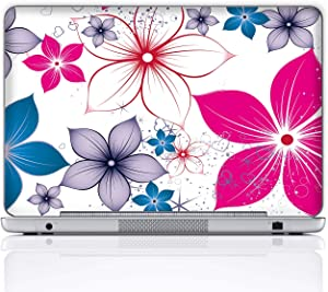 Meffort Inc 17 17.3 Inch Laptop Notebook Skin Sticker Cover Art Decal (Included 2 Wrist pad) - Colorful Flowers