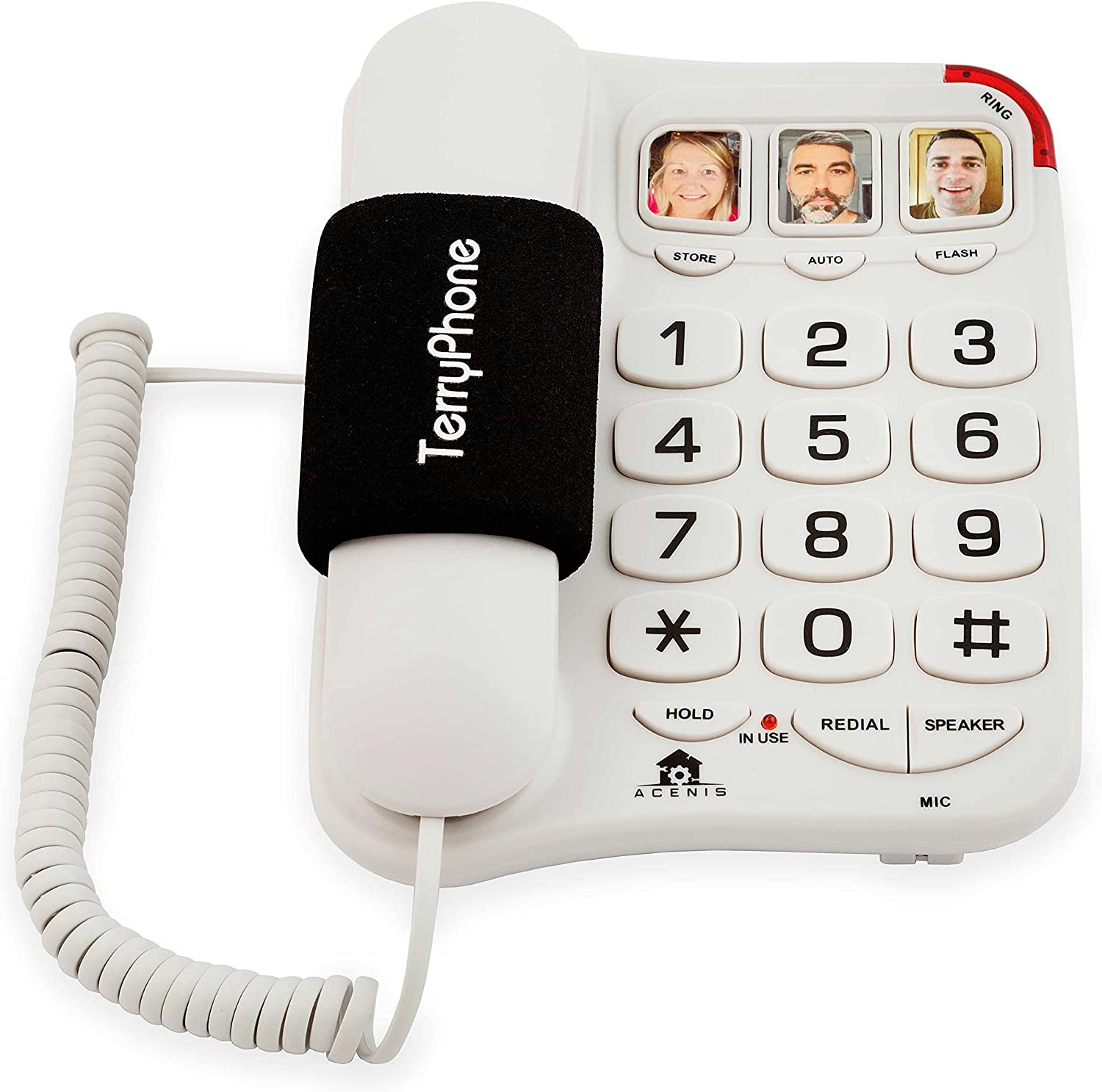 Big Button Phone for Seniors - Corded Landline Telephone - One-Touch Dialling for Visually Impaired - Amplified Ringer with Loud Speaker for Hearing Impaired, Ergonomic Non-Slip Grip